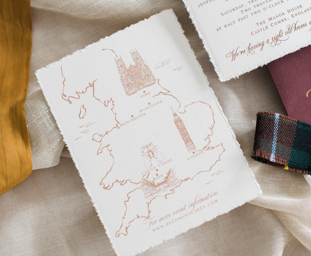 UK Gold Foil Wedding Map