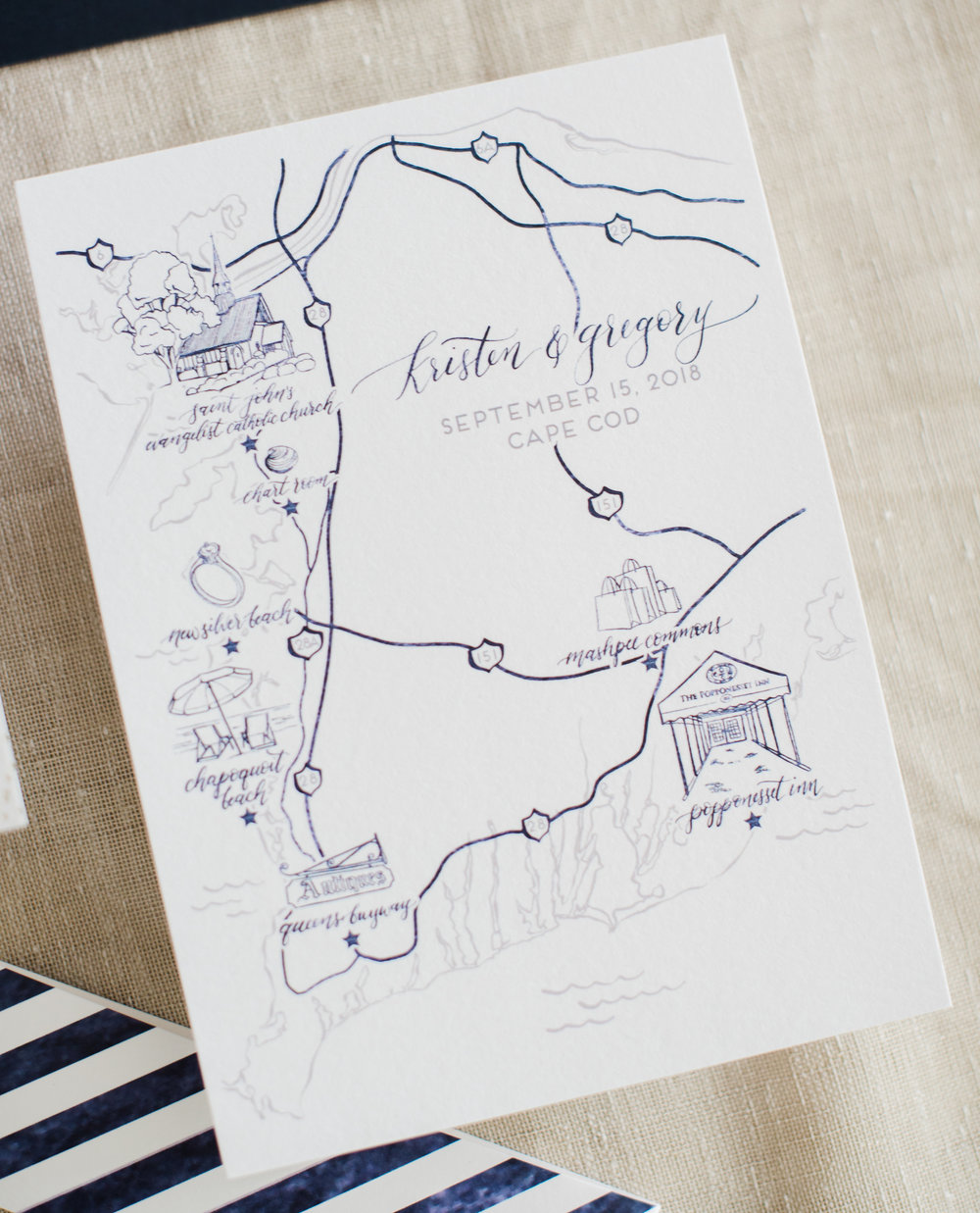 Cape Cod Line Art Wedding Map