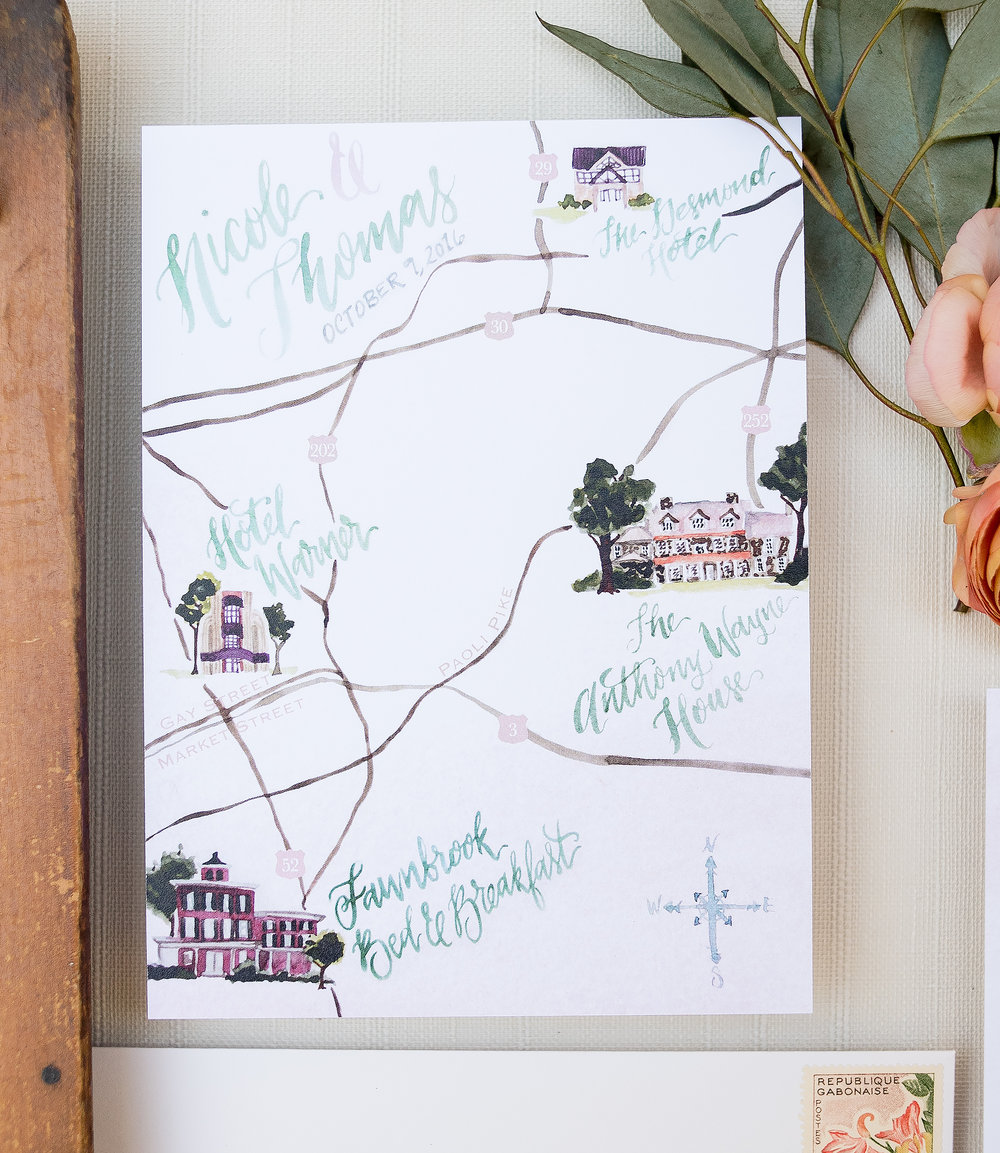 Anthony Wayne House Watercolor Wedding Map