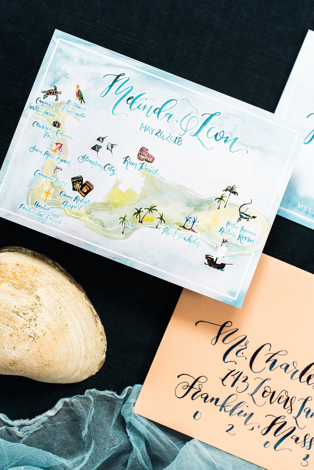 Cayman Island Watercolor Wedding Map
