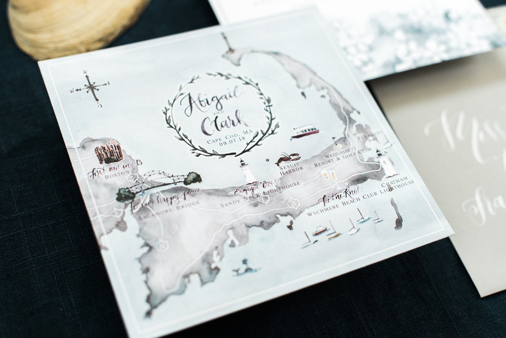 Square Cape Cod Wedding Map