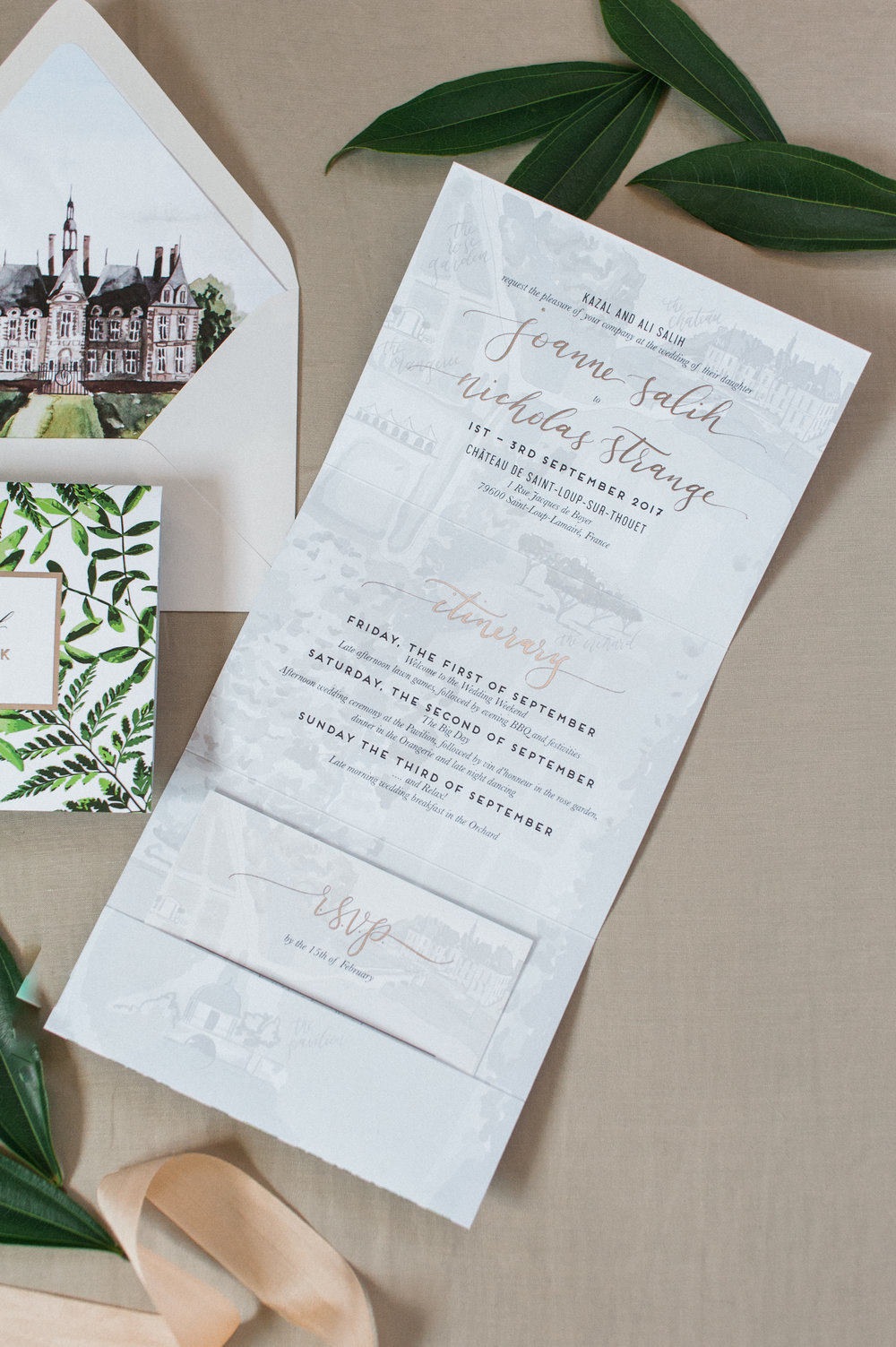 France Chateau de Saint Loup Watercolor Wedding Map