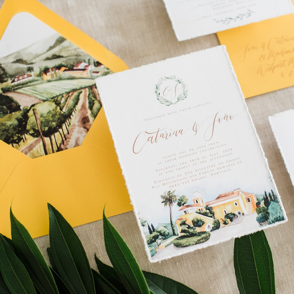 PORTUGAL VENUE WATERCOLOR WEDDING INVITATION
