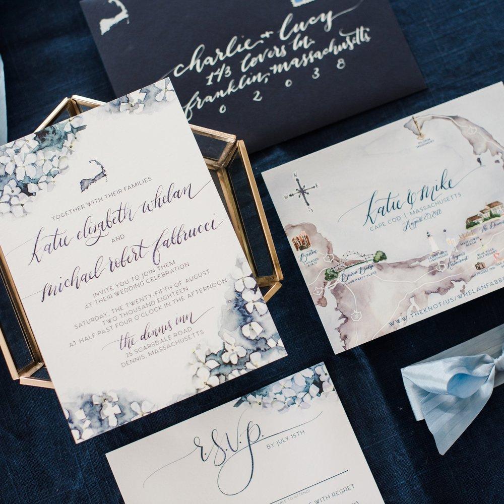 CAPE COD HYDRANGEA WATERCOLOR FLORAL WEDDING INVITATIONS