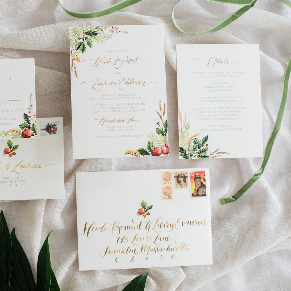 FALL FLORAL WATERCOLOR WHEAT AND FERN WEDDING INVITATIONS