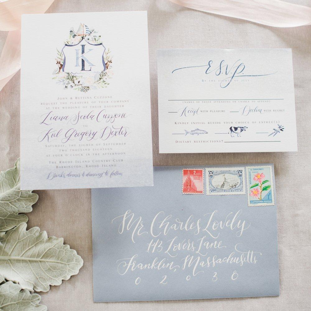 RHODE ISLAND CUSTOM CREST BOTANICAL WEDDING INVITATIONS