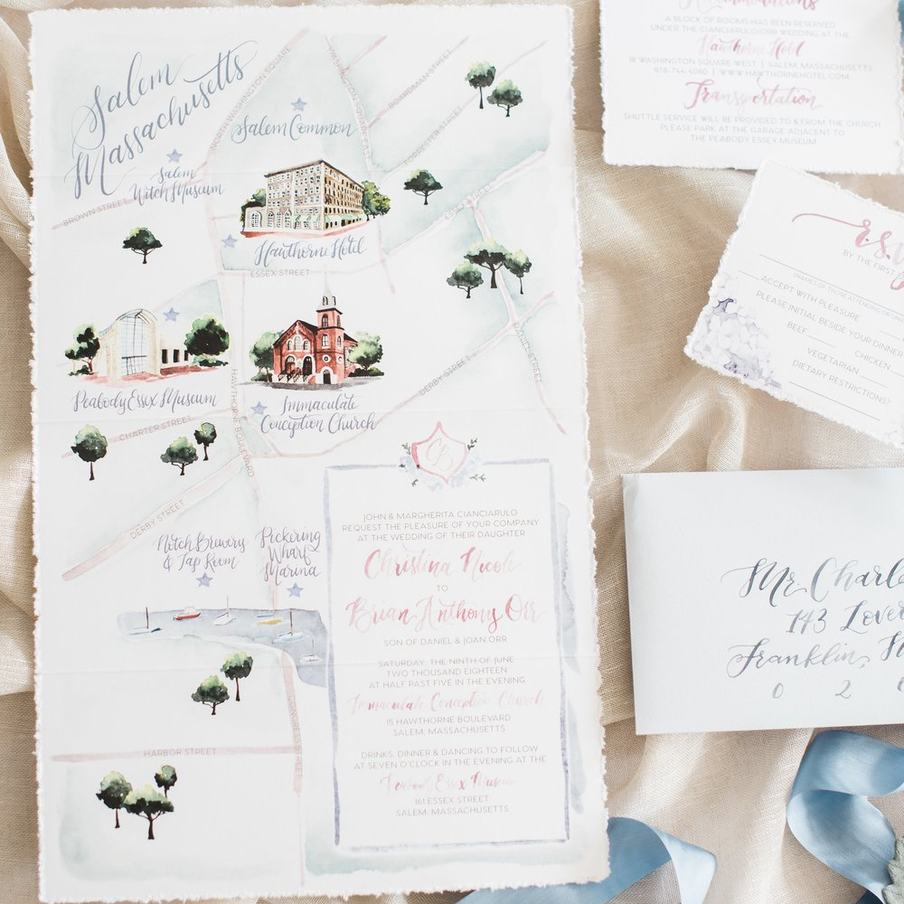 SALEM MA PEABODY ESSEX MUSEUM WATERCOLOR WEDDING INVITATIONS