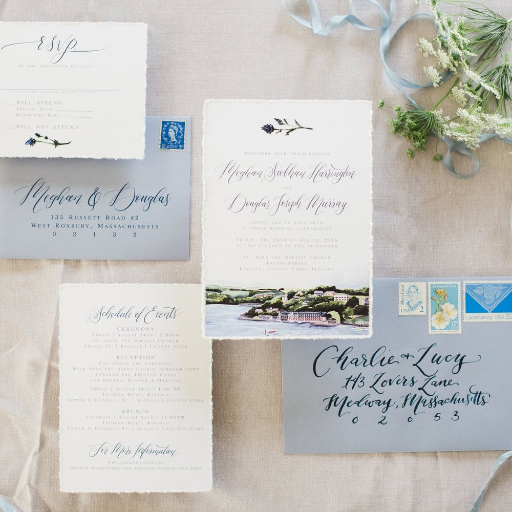 IRELAND BAY WATERCOLOR WEDDING INVITATIONS WITH THISTLE