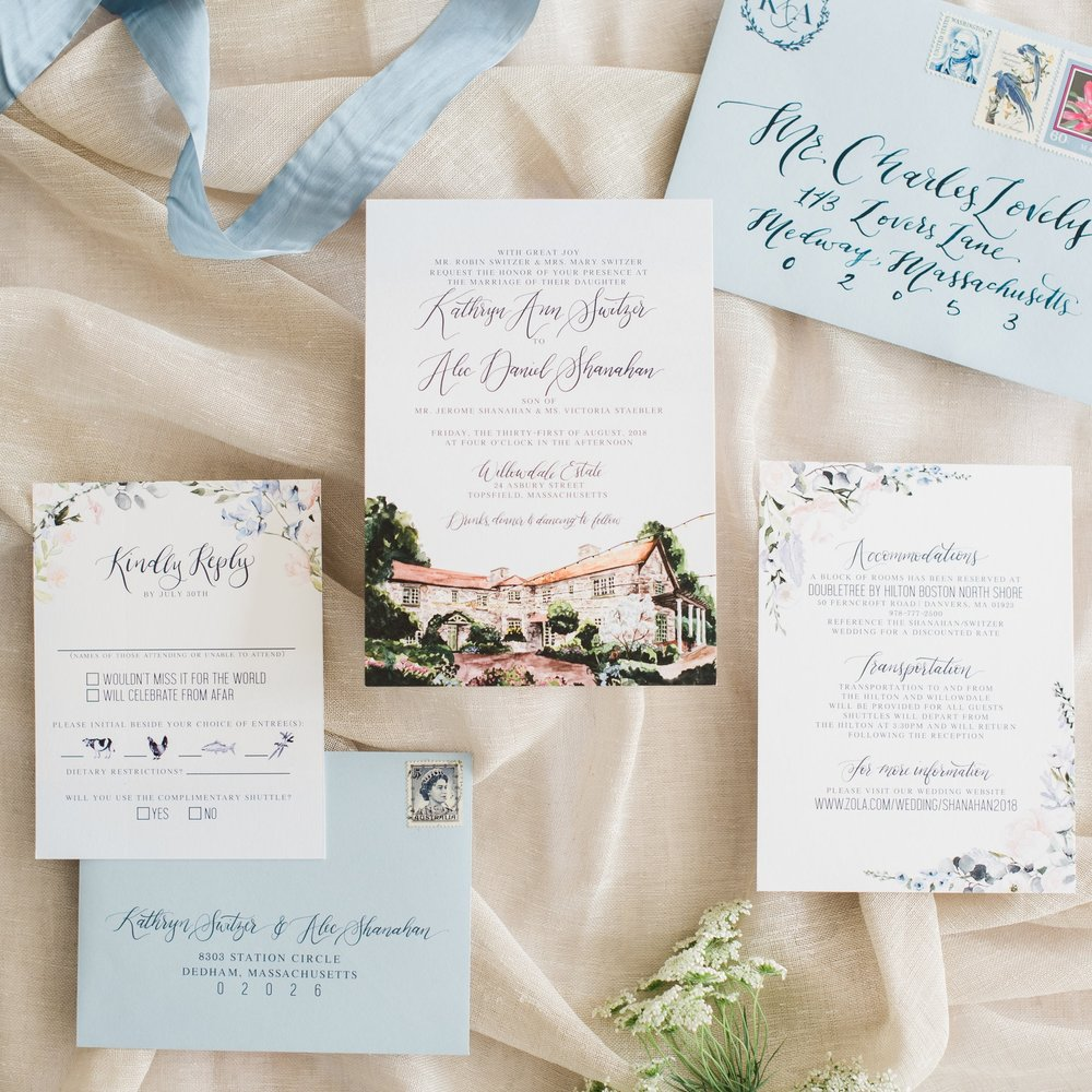 WILLOWDALE ESTATE VENUE WATERCOLOR WEDDING INVITATIONS