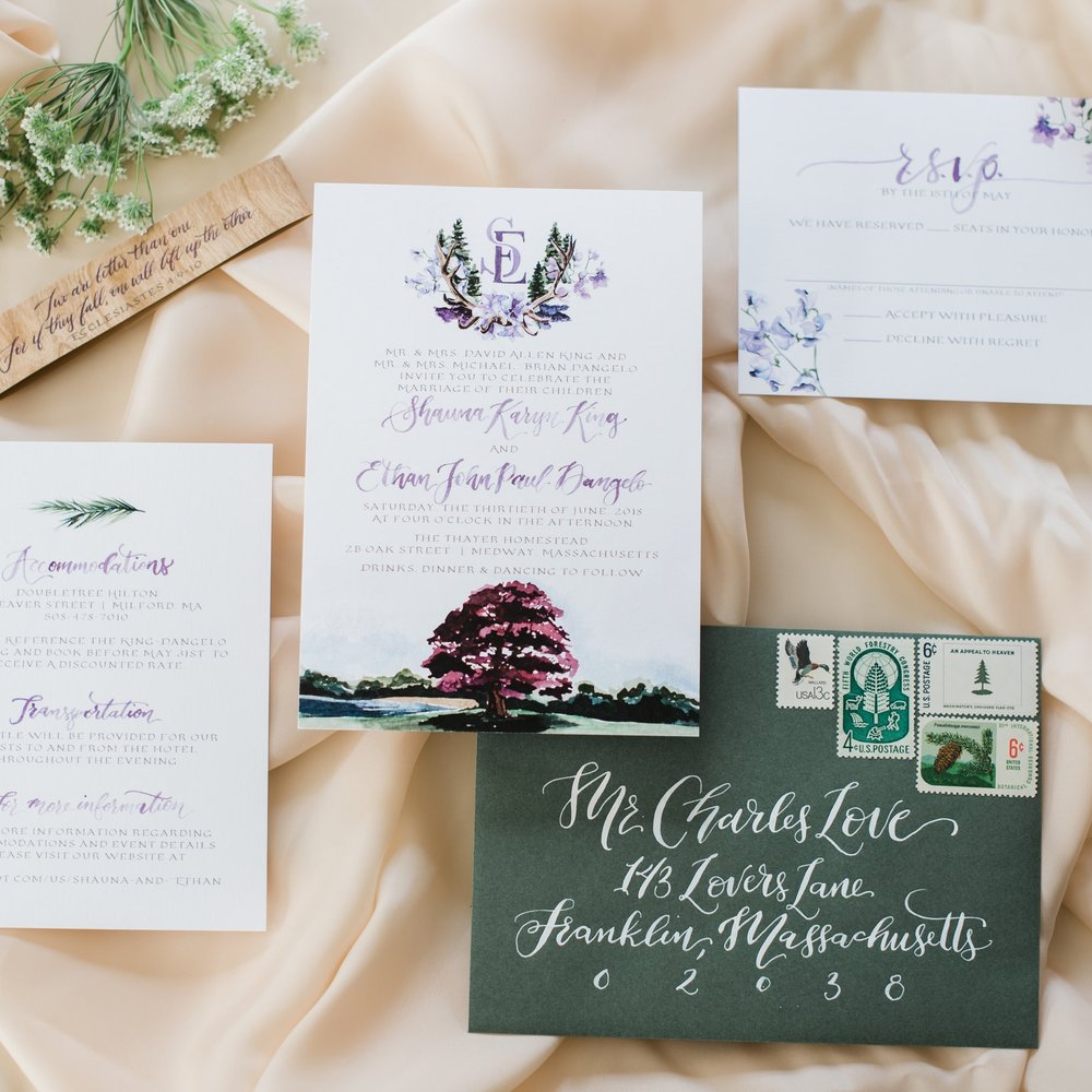 THAYER HOMESTEAD MILFORD MA WEDDING INVITATIONS