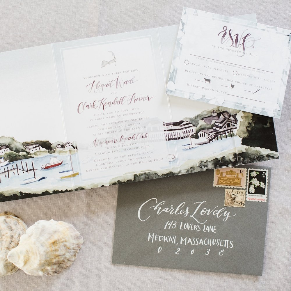 WYCHMERE BEACH CLUB VENUE WATERCOLOR WEDDING INVITATIONS