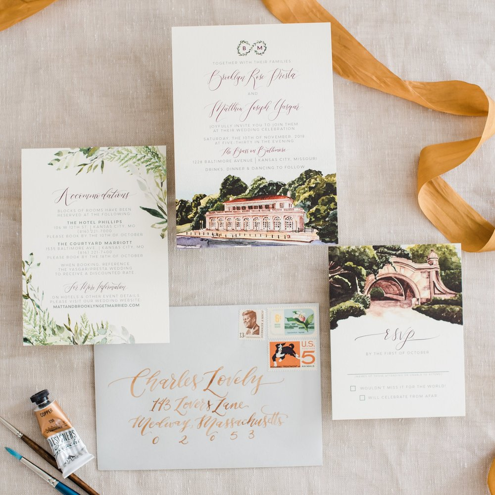 NEW YORK CENTRAL PARK CUSTOM WATERCOLOR WEDDING INVITATIONS