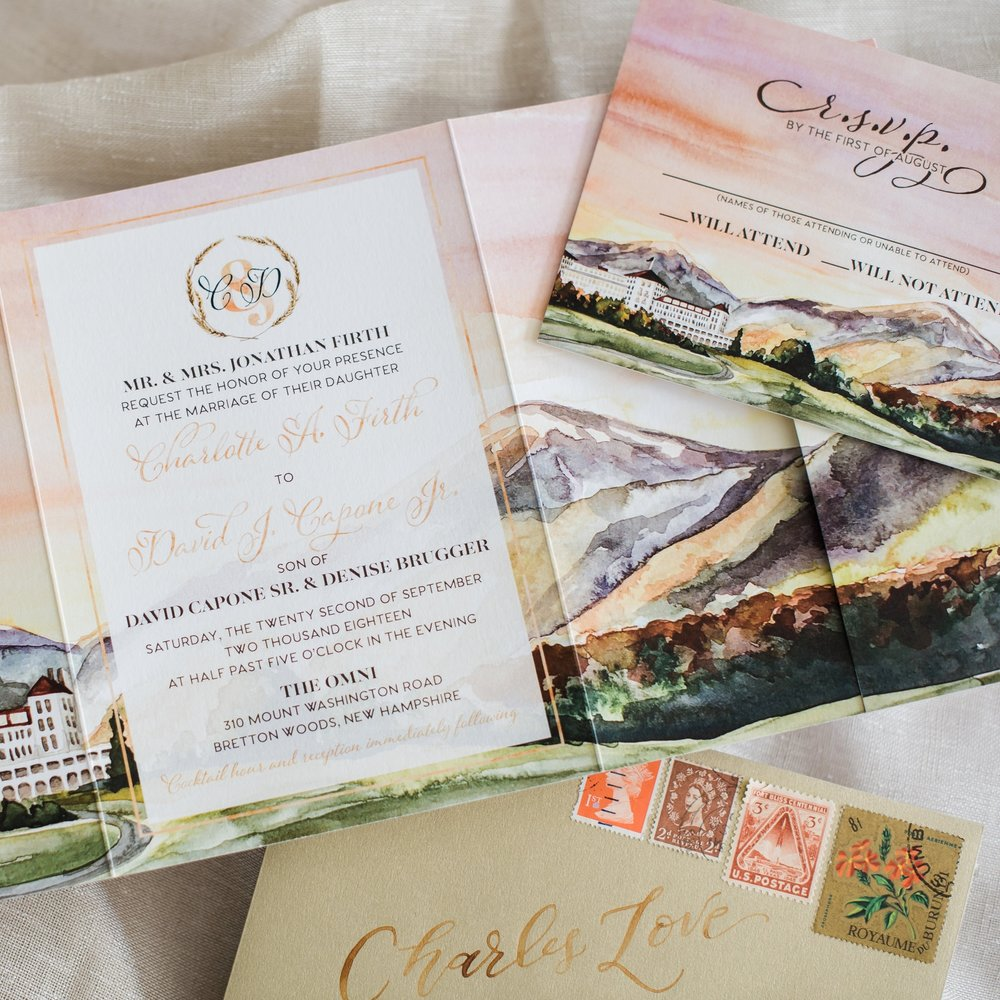 N.H. OMNI MOUNT WASHINGTON VENUE WATERCOLOR WEDDING INVITATIONS