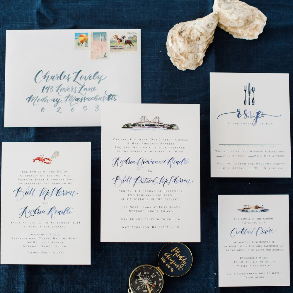 NEWPORT RHODE ISLAND WITH WATERCOLOR BRIDGE WEDDING INVITATIONS