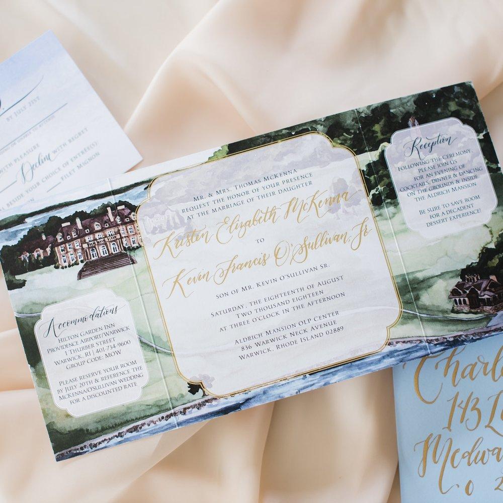 ALDRICH MANSION RHODE ISLAND WEDDING INVITATIONS