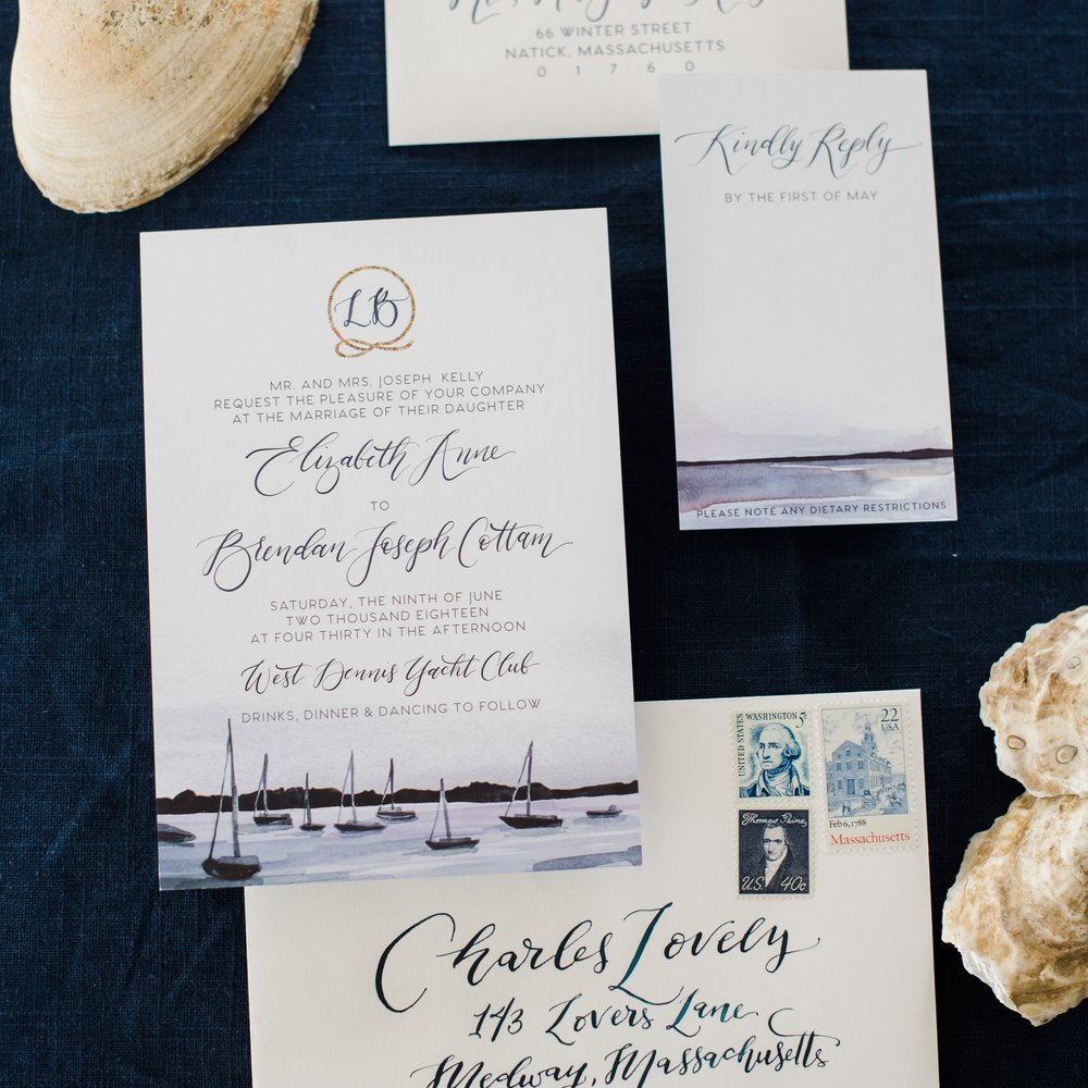 WEST DENNIS HARBOR WATERCOLOR YACHT CLUB INVITATIONS