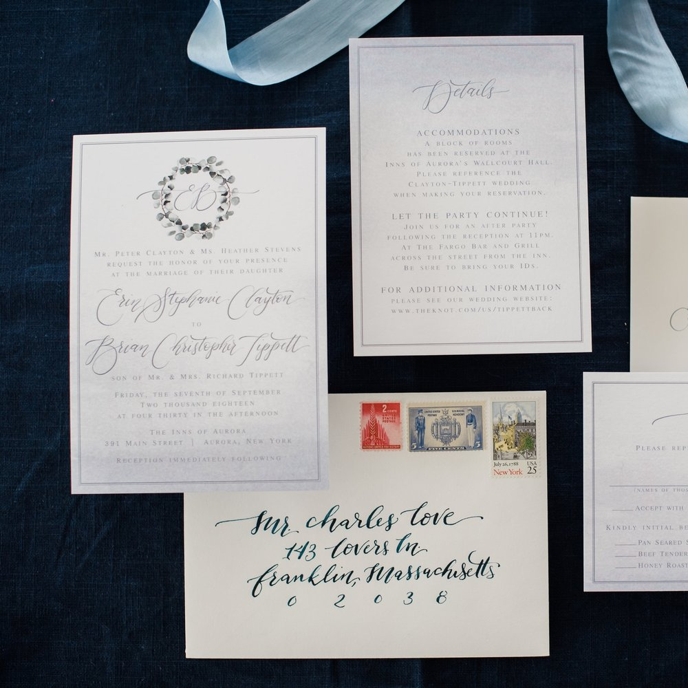 WATERCOLOR EUCALYPTIS AND WASH WREATH INVITATIONS