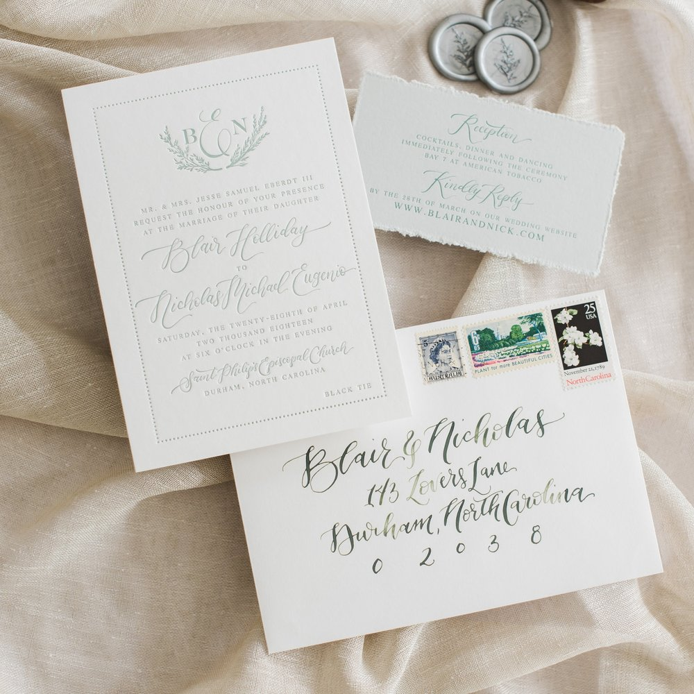 MINIMALIST LETTERPRESS GREENERYWEDDING INVITATIONS