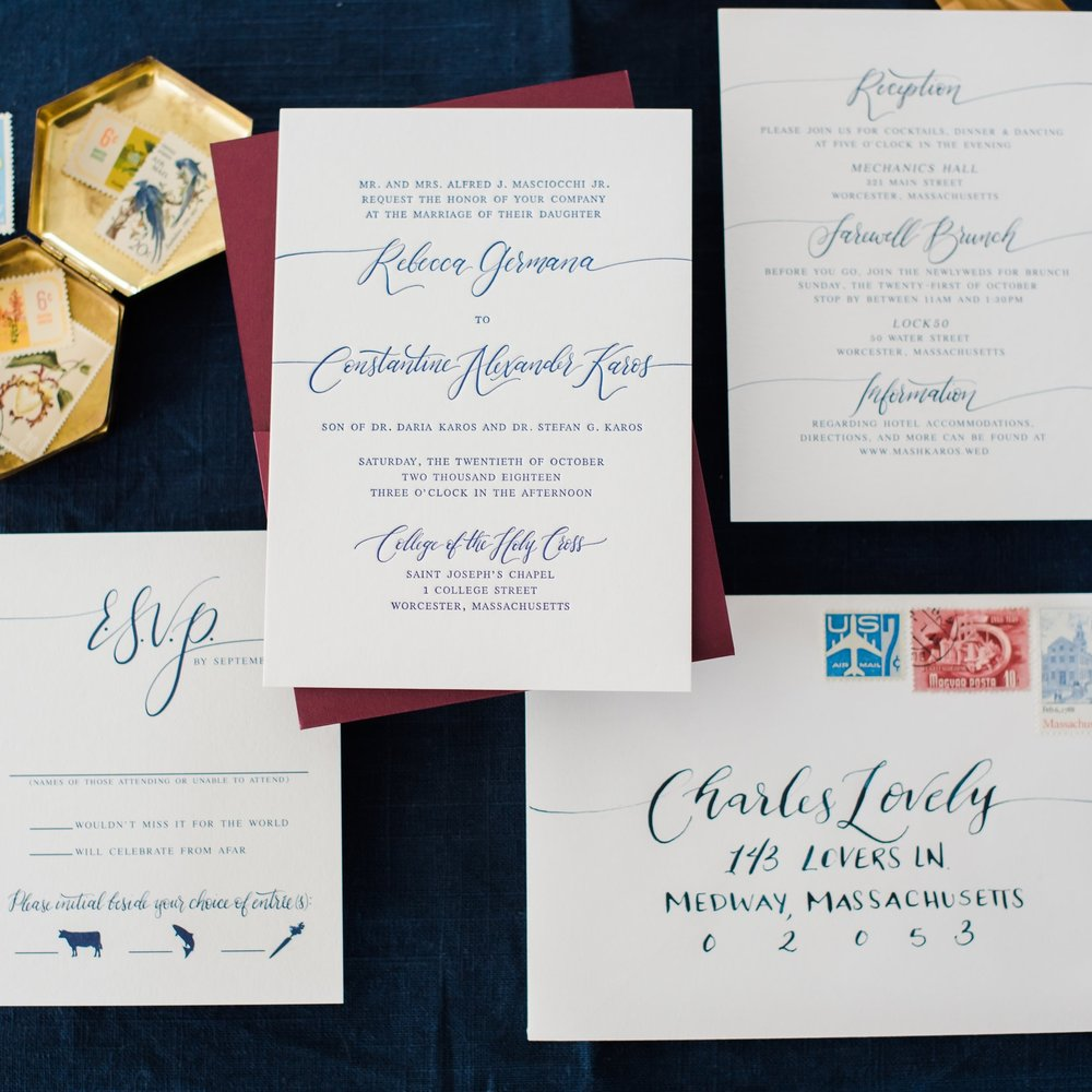 SIMPLE LETTERPRESS MODERN CALLIGRAPHY WEDDUING INVITATIONS