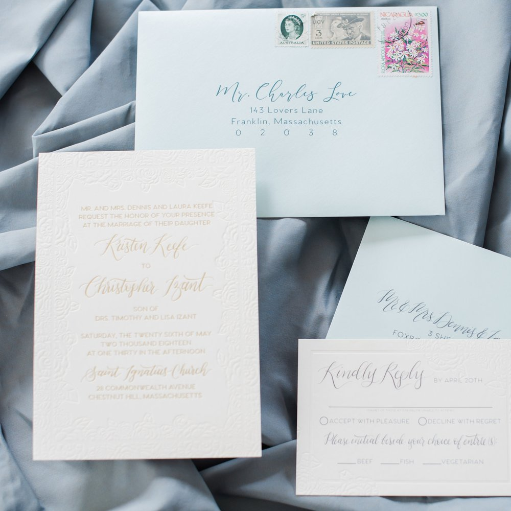 FLORAL DEBOSSED AND GOLD FOIL WEDDING INVITATIONS