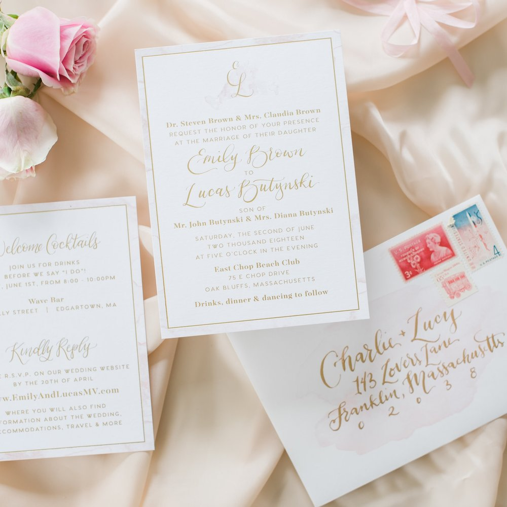 FOIL & WATERCOLOR EDGE MARTHAS VINEYARD WEDDING INVITATIONS