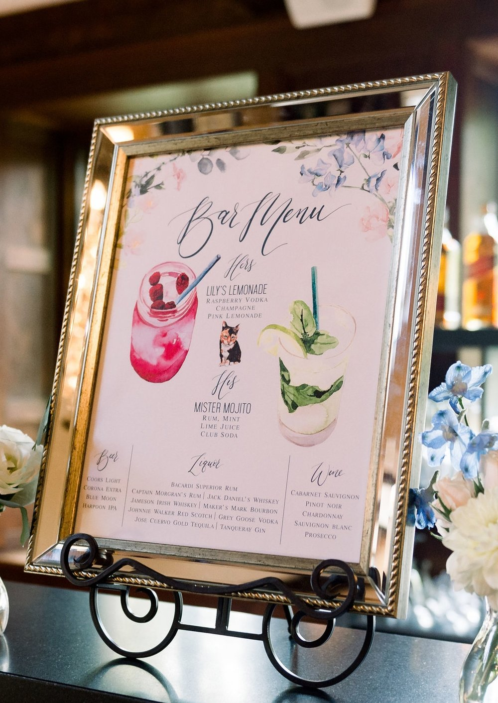 watercolor bar menu drinks pet portrait wedding