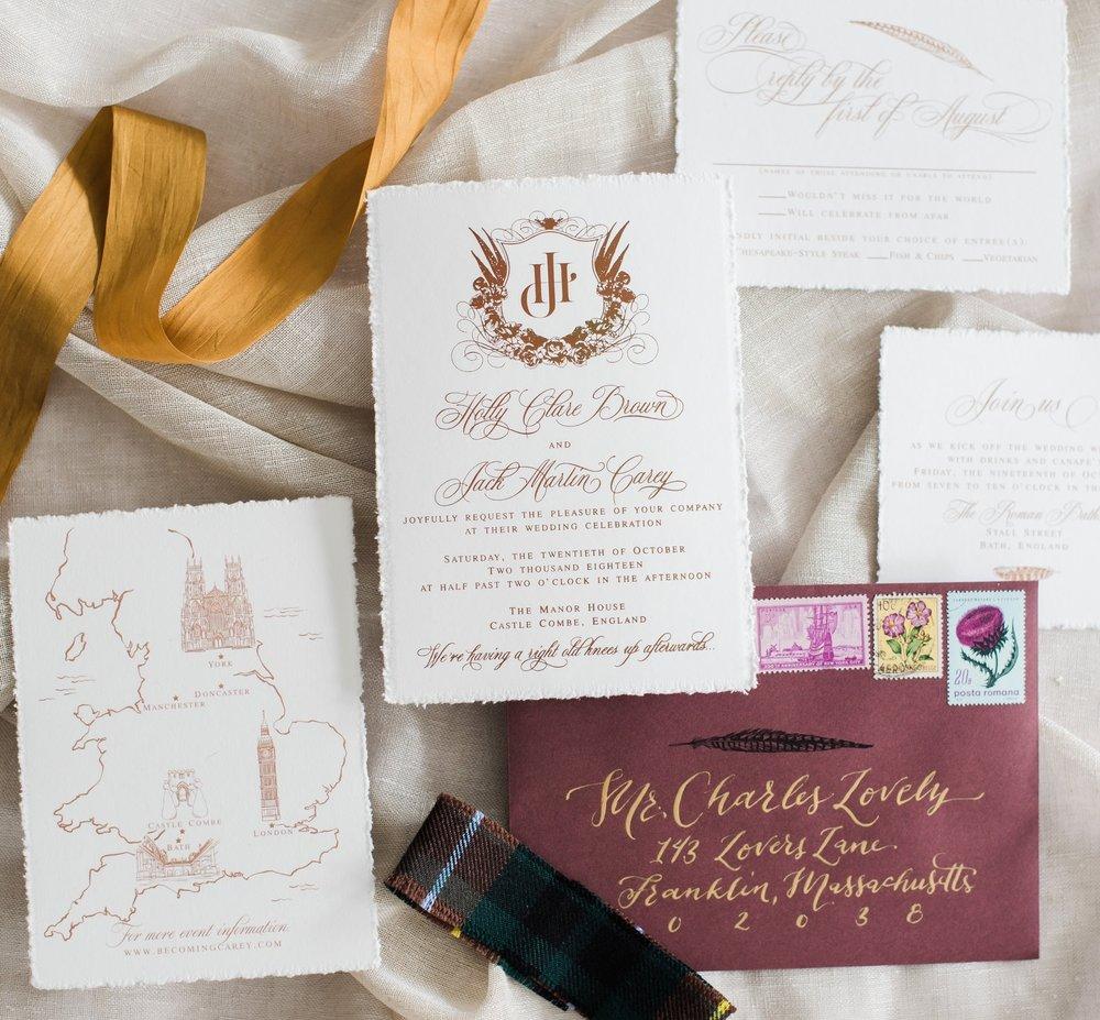 ENGLAND CREST WEDDING INVITATIONS