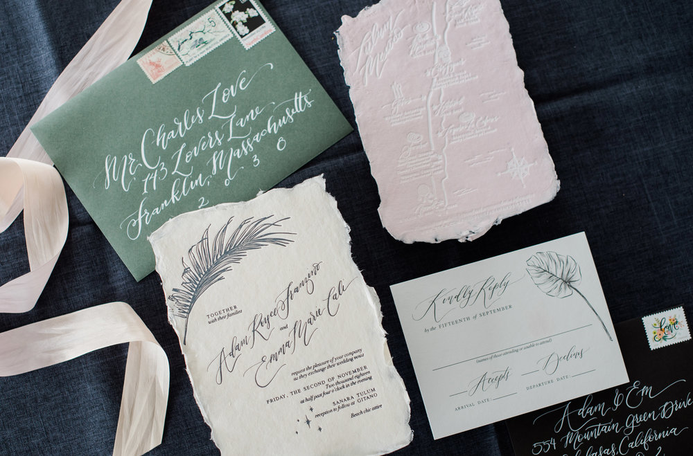 TROPICAL MEXICO HANDMADE PAPER AND LETTERPRESS INVITATIONS