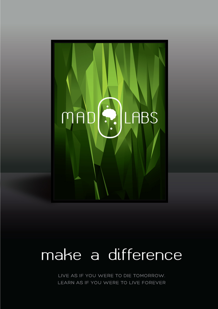 The demo Madlabs poster and advert had the logo framed as a work of art. It is displayed standing to signify newness and hence innovation.