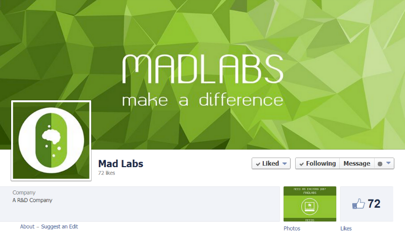 The Madlabs facebook profile and wallpaper that was eventually used (bottom) as well as other items showcasing the Madlabs icon such as smartphones and greeting cards.