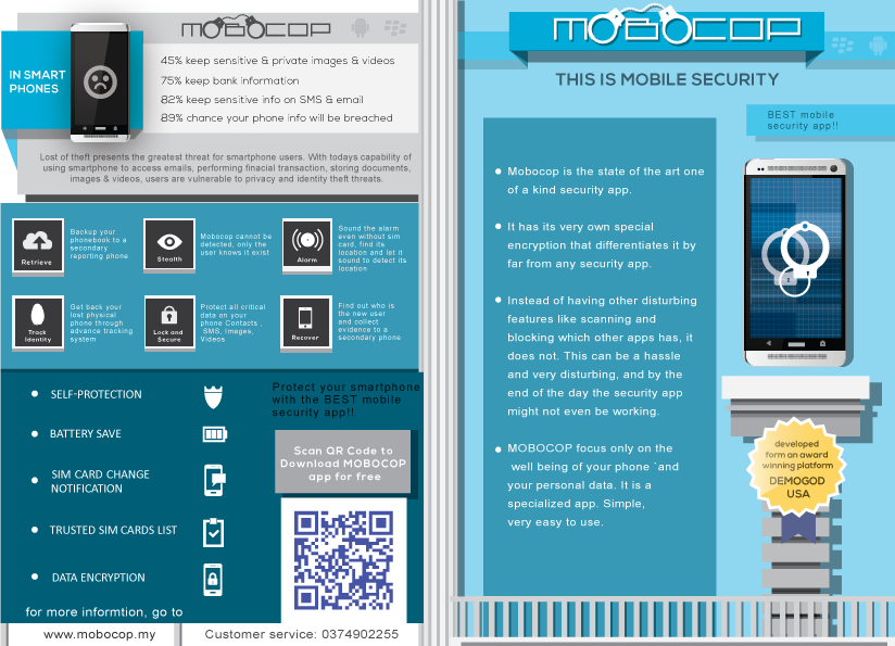 The Mobocop promotional item is comprehensive in explaining the strengths of Mobocop. Other than being just a flyer it has a calendar on the reverse side.