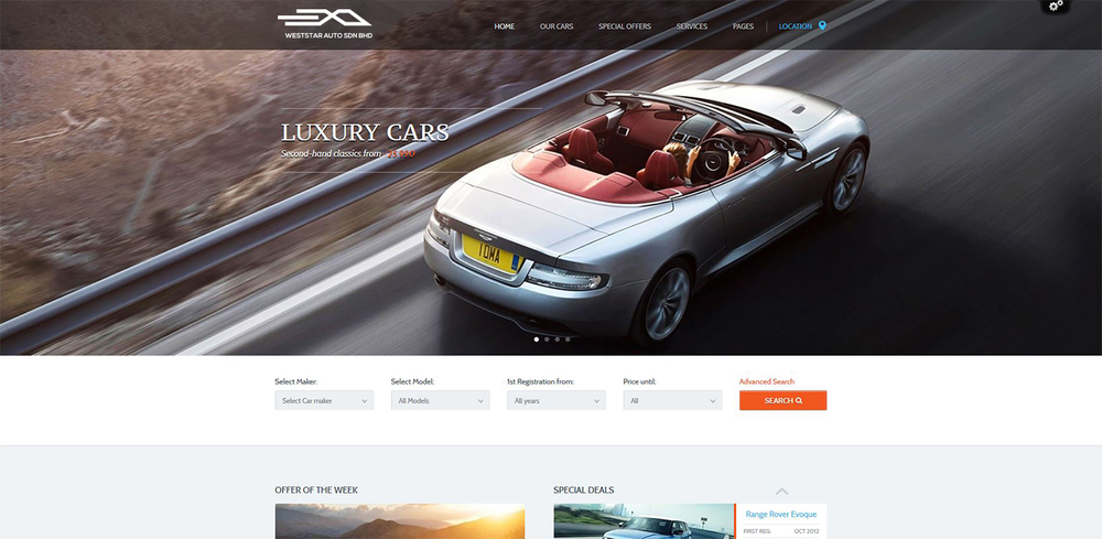 A demo of the EXO image for a website for luxury cars.