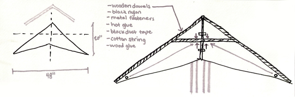 Our initial sketch portraying a simple triangular form. The design evolved as we aimed to make the kite more aerodynamic.