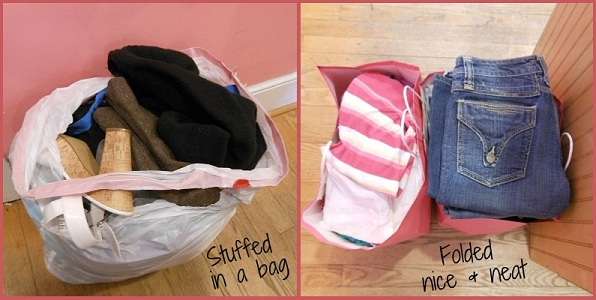 These are the exact same items, but notice the appeal of the neatly folded clothes.