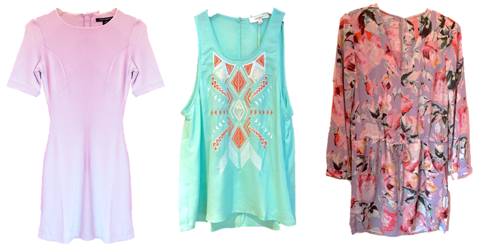 Left to Right: French Connection Maria Dress, $148. Umgee Tribal Beat Tank, $34. Eight Sixty Wildflowers Dress, $138.