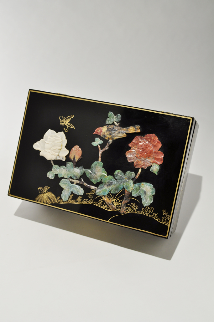 Chinese Black Lacquer Jewelry Box with Soapstone Inlay Asian