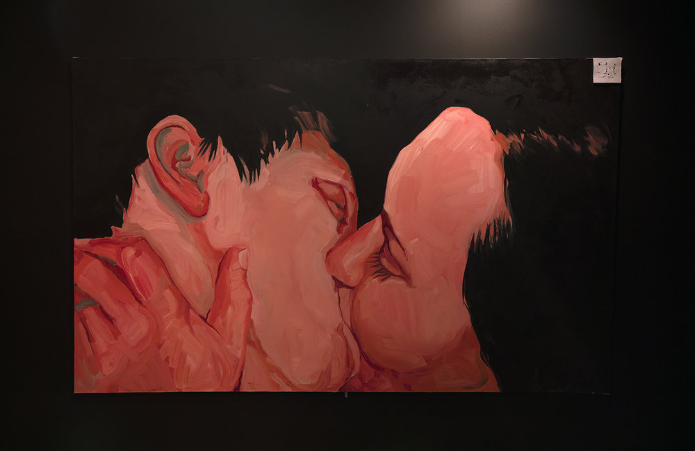 Mania Painting (Kissing). 6 x 9 foot oil on canvas. 2017