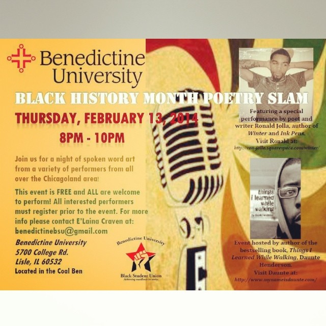 just-janai :     Chicago:   Catch @_Jolla (& other talented artists) live February 13 at Benedictine University for their Black History poetry slam. #SupportTheArts #prose #poetry #spokenword #art #BlackHistoryMonth #ImExcited ☺️