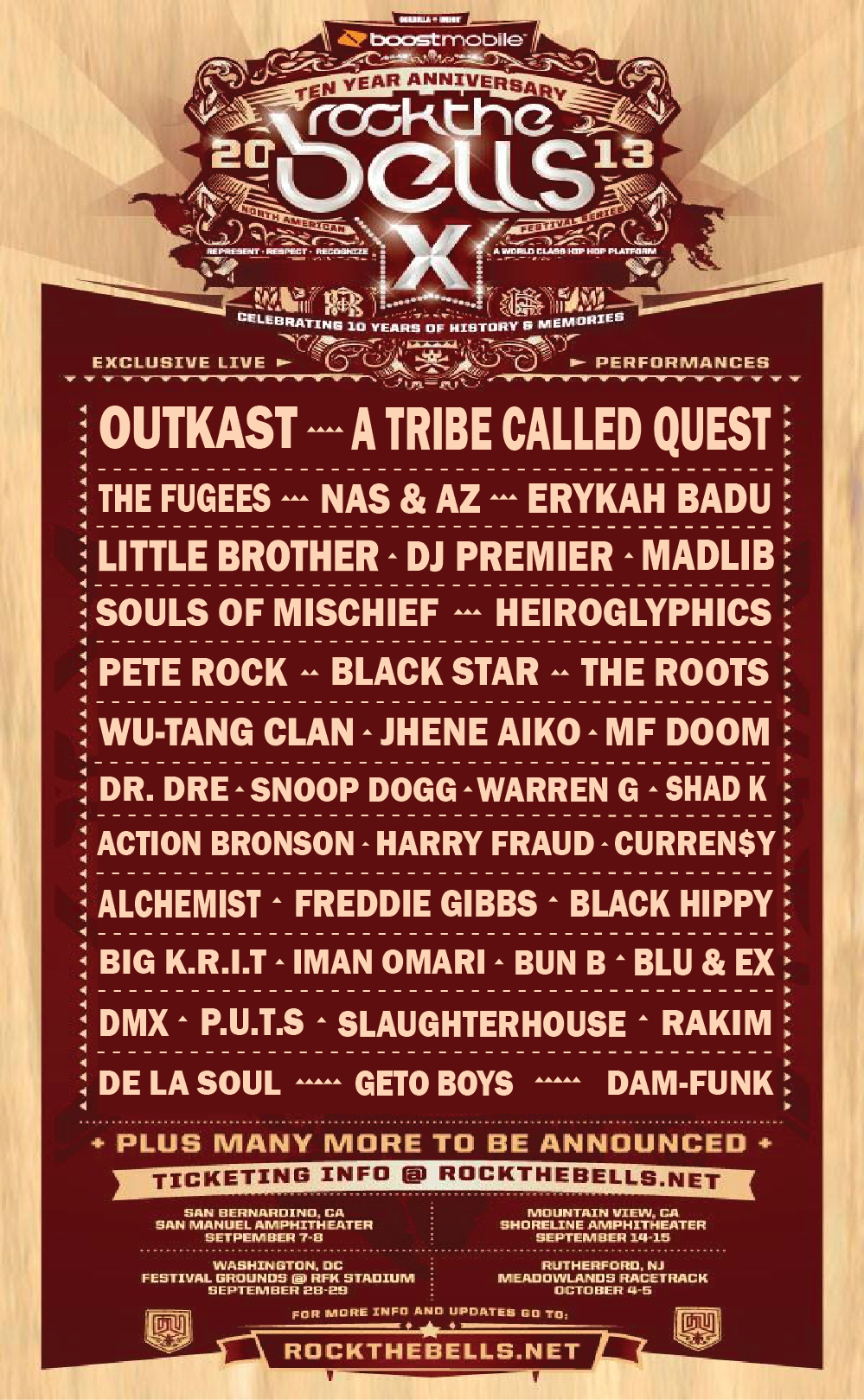 lyfestile :          capsj :         !!!         Nice lineup         MAN…we are there as soon as they say what the Chicago dates are.   Blackstar, Blu, DOOM, Slaughterhouse, De La, 'Kast, Tribe, Erykah, NaSir, Spitta, Jhene, Little Brother, KRIT, Madlib, Pete Rock & Erykah?? shiiiiiiiiiiiiiiiiiiiiiiittttttttttt.