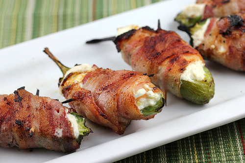naturallyalise :      political-gravitas :      gastrogirl :      bacon-wrapped jalapeños with cream cheese.      had me at bacon!     foodgasm.     Jesus Harold, Mary, & Eli. This looks good as HELL to me, lol.