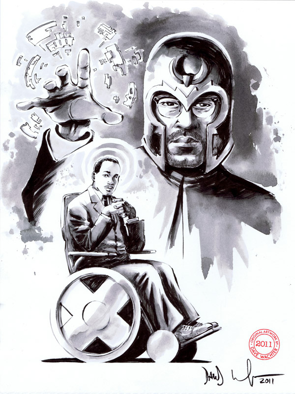 pointblank101 :      fuckyeahmagnus :         Martin Luther King, Malcolm X as Prof X and Magneto  by Dave Wachter      This is one of the most beautiful things I have ever seen.     This is amazing!!