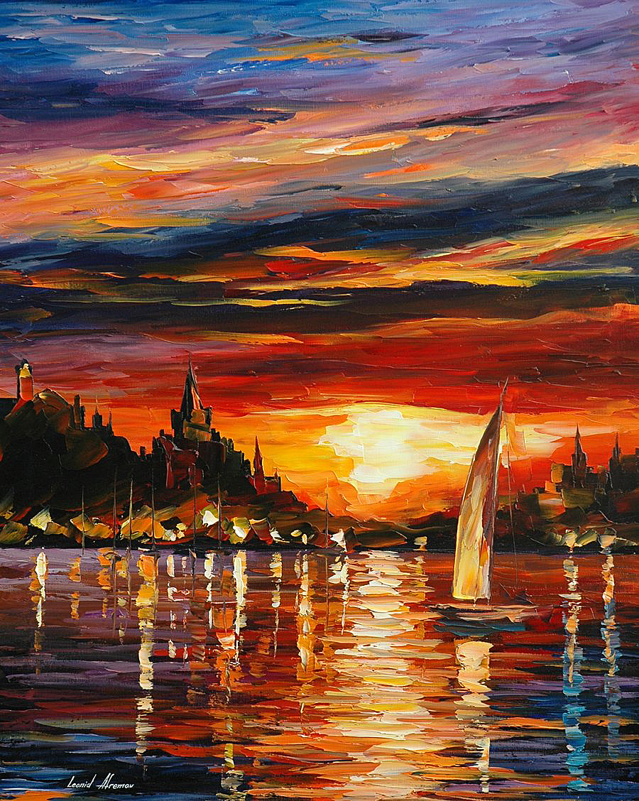 welovepaintings :      Leonid Afremov     Castle by the Sea