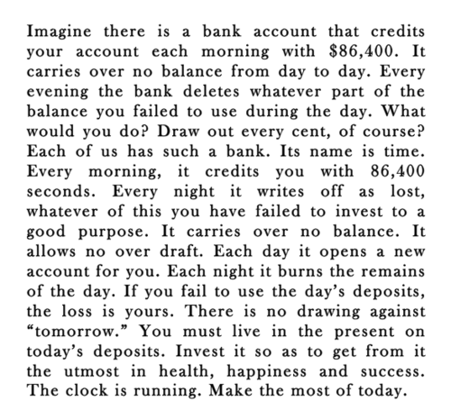 basseyworld :      karlnova :     Don't waste time. #NoteToSelf     And right when I tweet that, I read this.   Okay, Universe, I get it. Whatever, you still don't know my life!