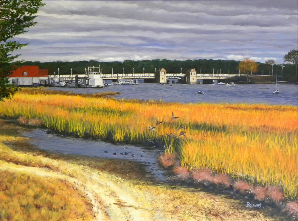 "Linda Boisvert DeStefanis' ""The Bayville Bridge One Week After Hurricane Sandy"""