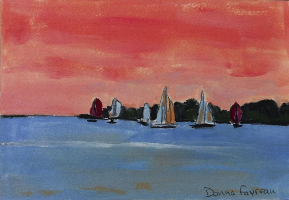 """Donna Dubreuil Favreau's """"Sunset Sailboats"""""""