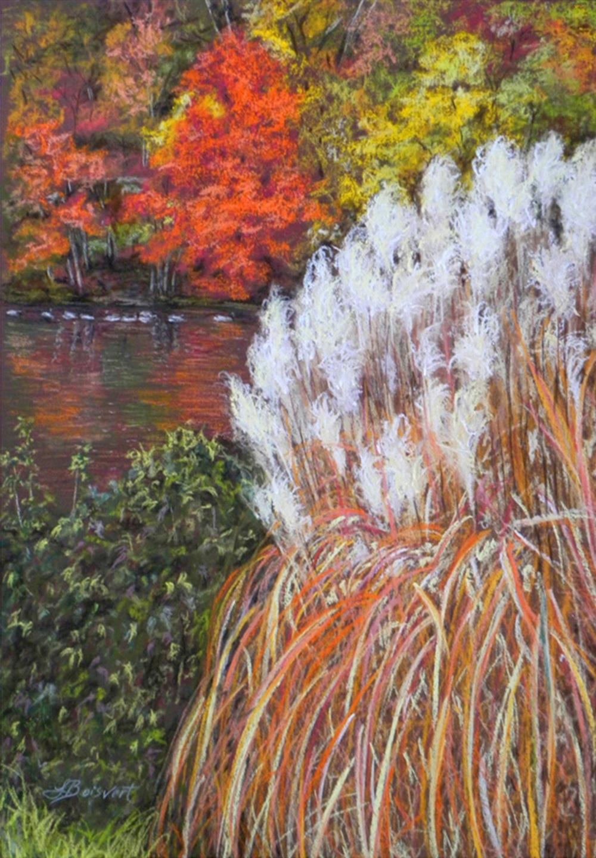 """Linda Boisvert DeStefanis's """"Red Tree on Pond"""""""