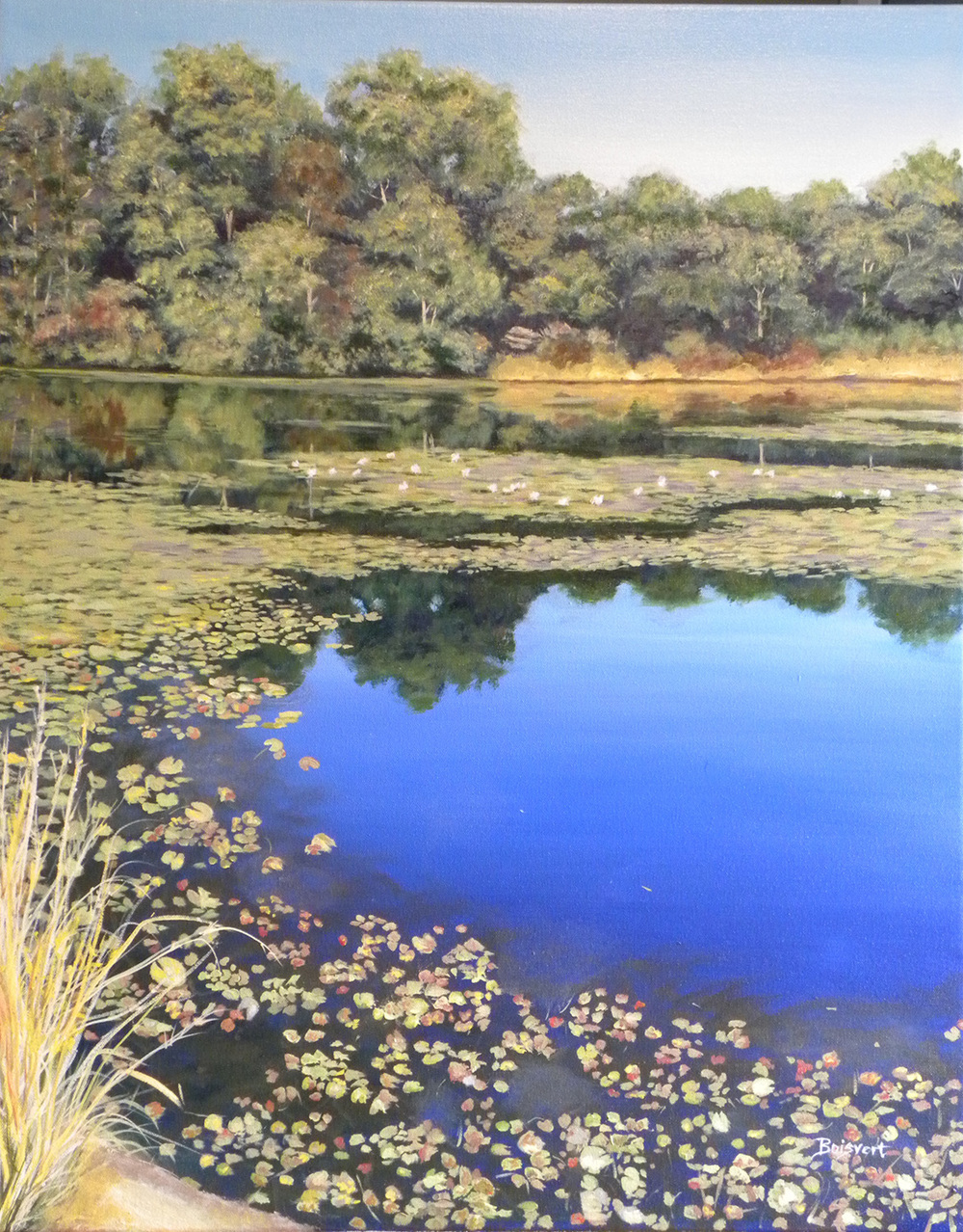 "Linda Boisvert DeStefanis' ""Reflections on Vineyard Pond"""
