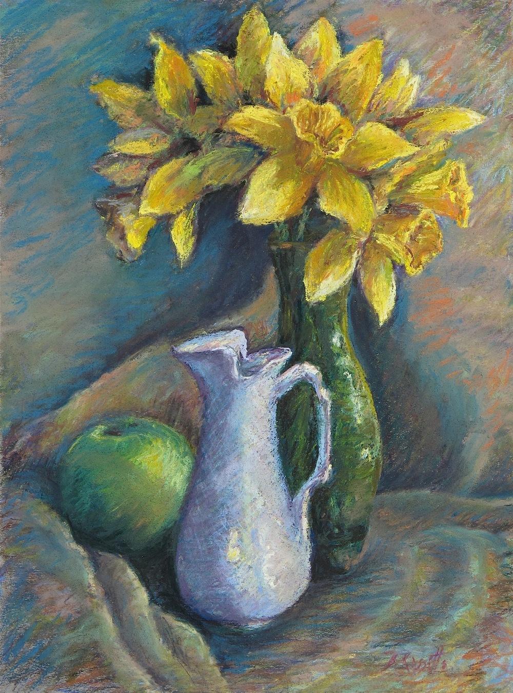 """B. Rossitto's """"Daffodils in a Green Vase"""""""