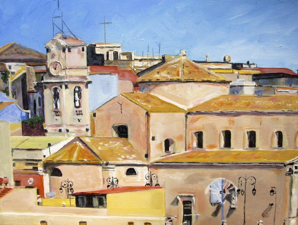 "Donna Dubreuil Favreau's ""Chiesa Madre & Skyline, Melilli, Sicily"""