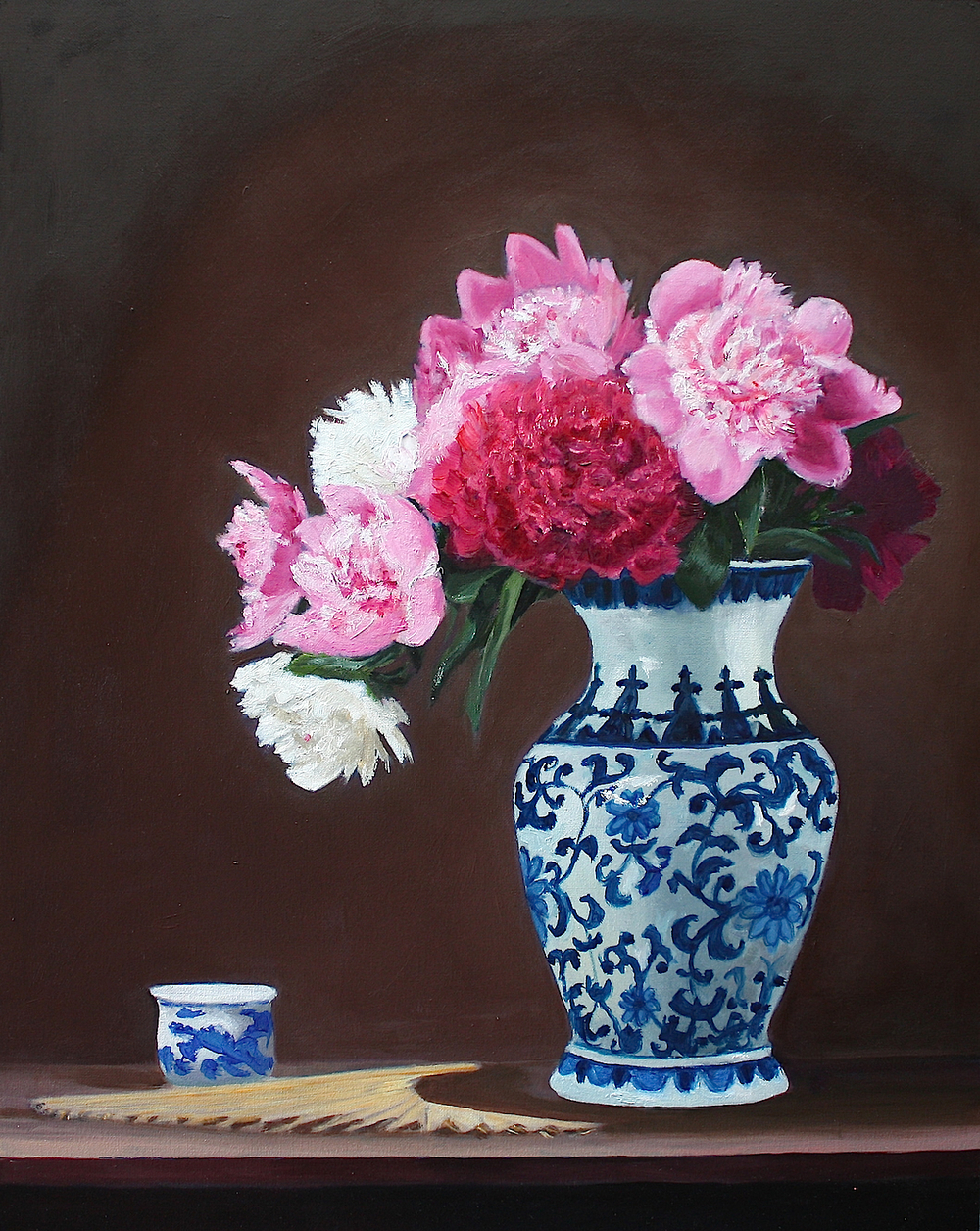 "Gray Jacobik's ""Peonies, Teacup, Fan & Chinese Vase"""